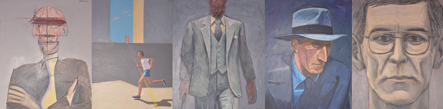 Five paintings spanning Rod MacKillop's career: (left to right) Man with a Yellow Tie, 1977; Golden Gate Runner, 1979; Man in a Green Suit, 1983; Hat Man, 1985; Grey Self-Portrait, 2000.